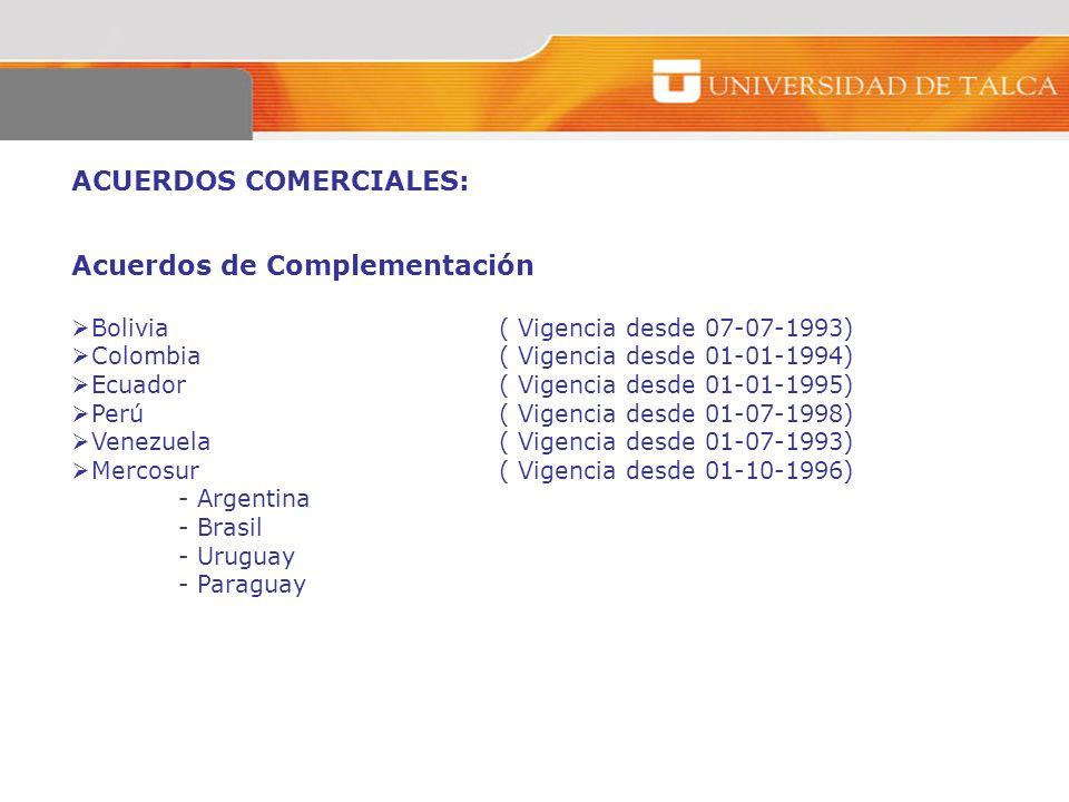 ACUERDOS COMERCIALES: Acuerdos de Complementación Bolivia ( Vigencia desde 07-07-1993) Colombia( Vigencia desde 01-01-1994) Ecuador ( Vigencia desde 0