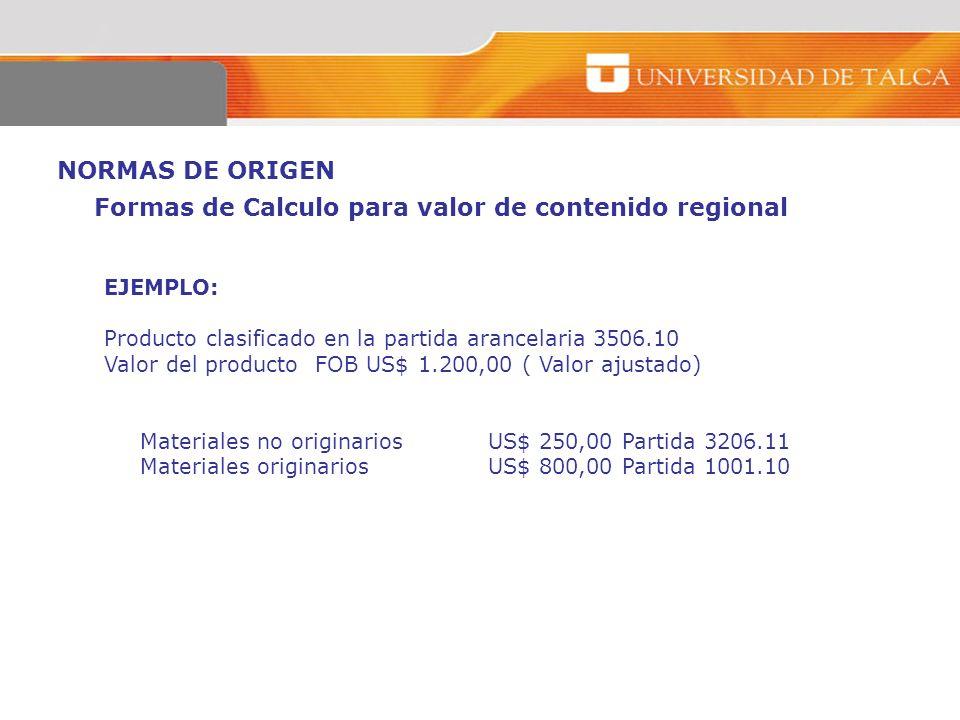 NORMAS DE ORIGEN EJEMPLO: Producto clasificado en la partida arancelaria 3506.10 Valor del producto FOB US$ 1.200,00 ( Valor ajustado) Materiales no o