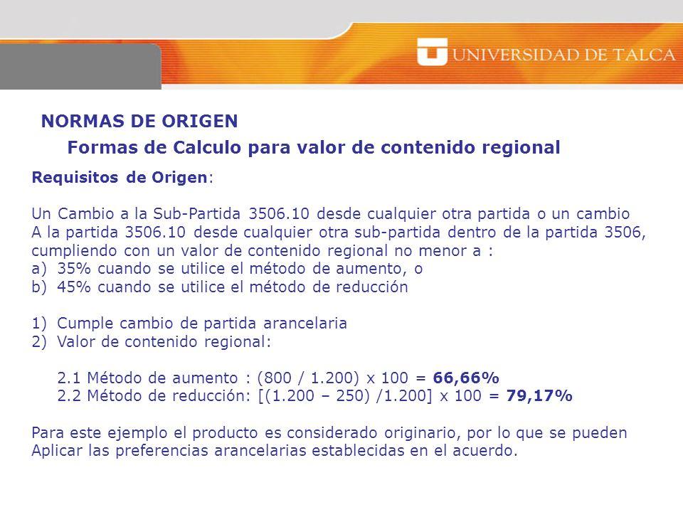 NORMAS DE ORIGEN Requisitos de Origen: Un Cambio a la Sub-Partida 3506.10 desde cualquier otra partida o un cambio A la partida 3506.10 desde cualquie