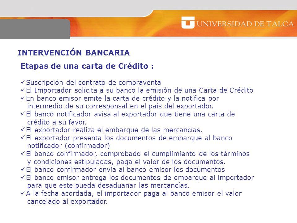 INTERVENCIÓN BANCARIA Etapas de una carta de Crédito : Suscripción del contrato de compraventa El Importador solicita a su banco la emisión de una Car