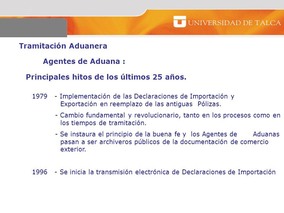 Tramitación Aduanera Agentes de Aduana : Principales hitos de los últimos 25 años. 1979 - Implementación de las Declaraciones de Importación y Exporta