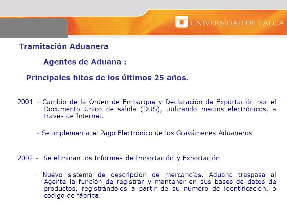 Tramitación Aduanera Agentes de Aduana : Principales hitos de los últimos 25 años. 2001 - Cambio de la Orden de Embarque y Declaración de Exportación
