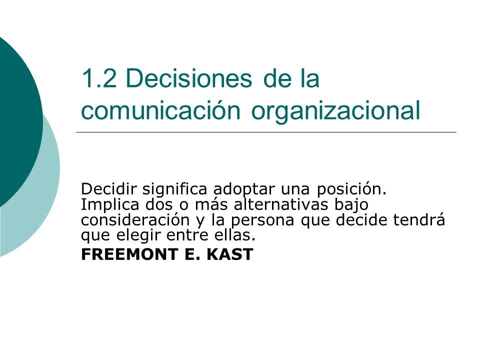 1.2 Decisiones de la comunicación organizacional Decidir significa adoptar una posición. Implica dos o más alternativas bajo consideración y la person