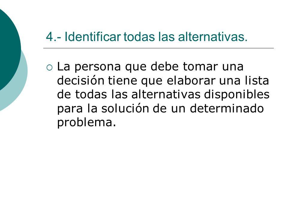 4.- Identificar todas las alternativas. La persona que debe tomar una decisión tiene que elaborar una lista de todas las alternativas disponibles para