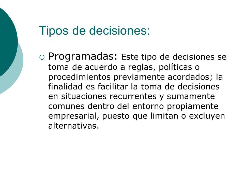 Tipos de decisiones: Programadas: Este tipo de decisiones se toma de acuerdo a reglas, políticas o procedimientos previamente acordados; la finalidad