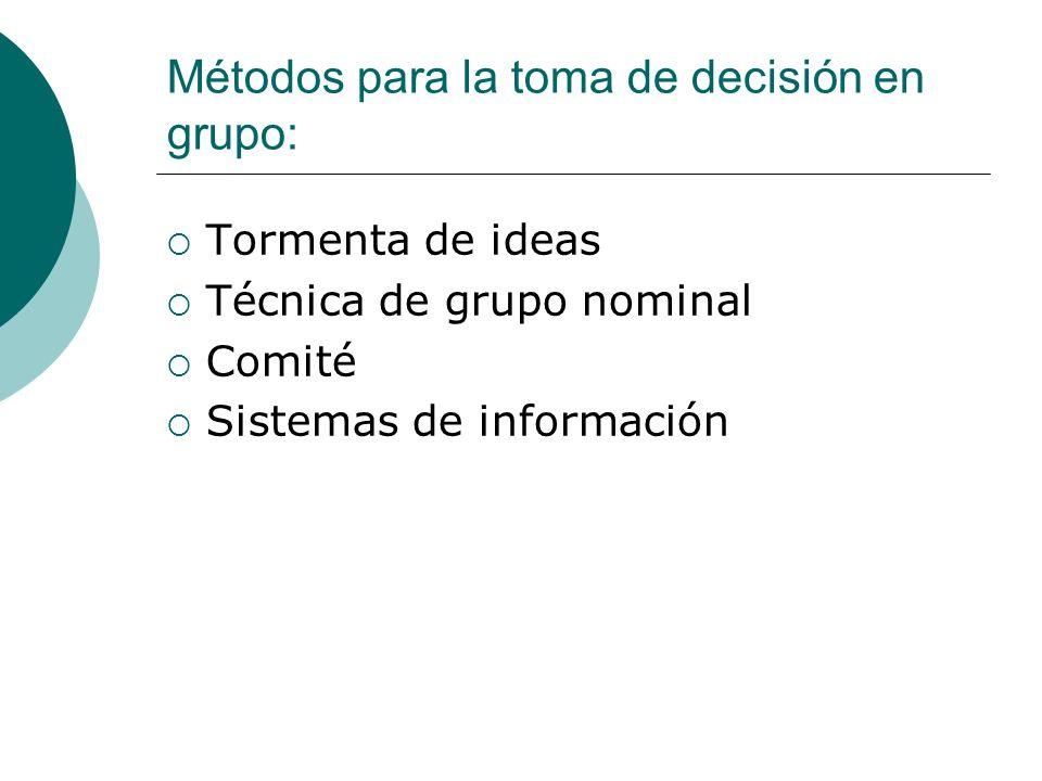 Métodos para la toma de decisión en grupo: Tormenta de ideas Técnica de grupo nominal Comité Sistemas de información