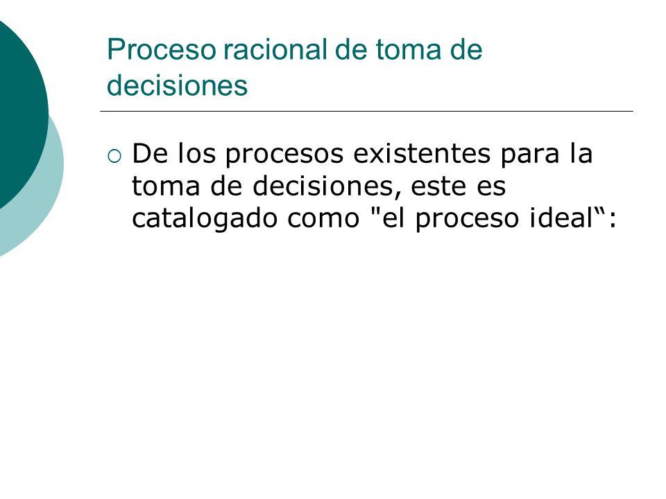 Proceso racional de toma de decisiones De los procesos existentes para la toma de decisiones, este es catalogado como