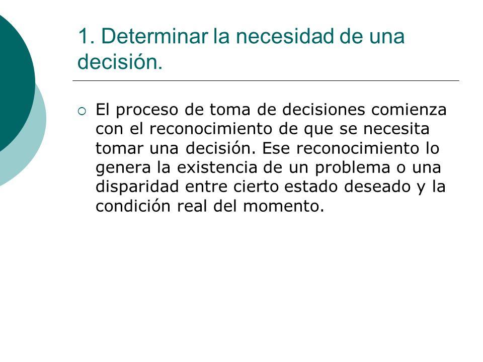 1. Determinar la necesidad de una decisión. El proceso de toma de decisiones comienza con el reconocimiento de que se necesita tomar una decisión. Ese