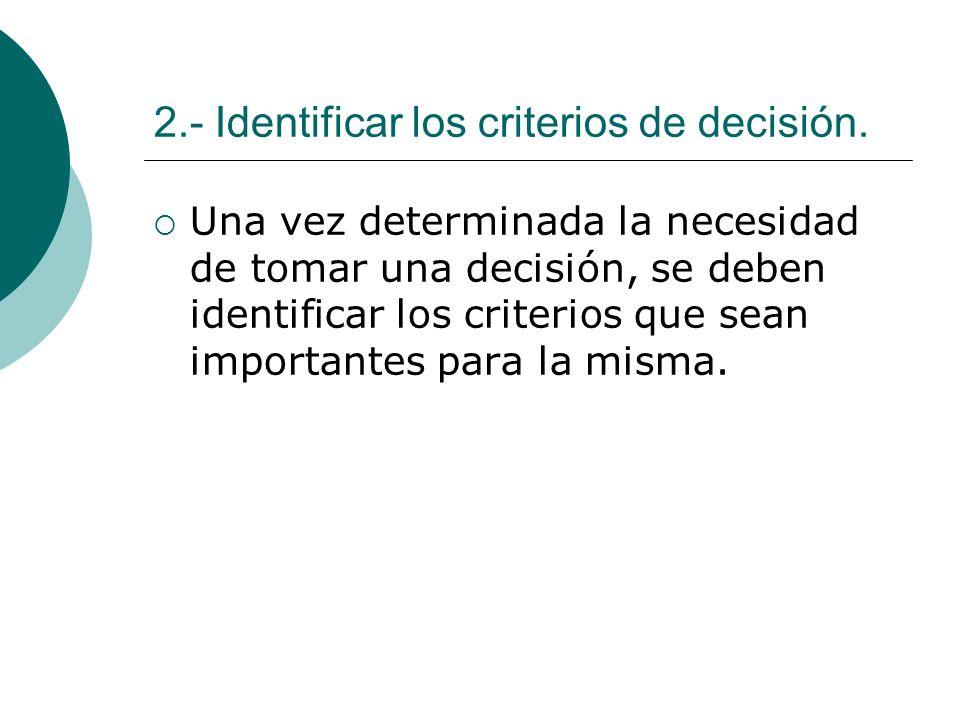 2.- Identificar los criterios de decisión. Una vez determinada la necesidad de tomar una decisión, se deben identificar los criterios que sean importa
