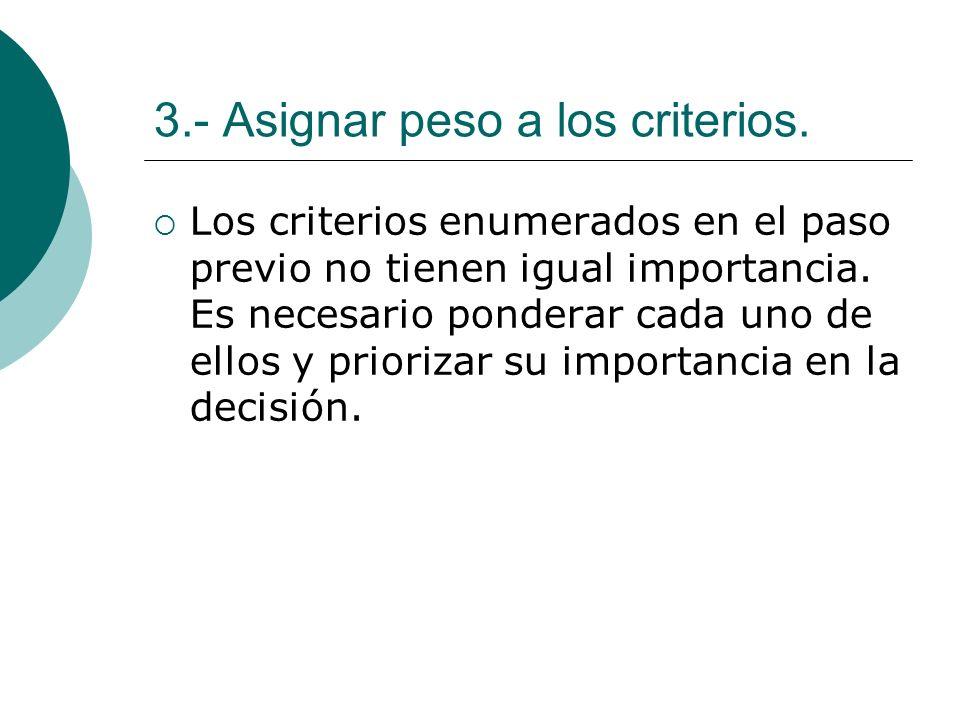 3.- Asignar peso a los criterios. Los criterios enumerados en el paso previo no tienen igual importancia. Es necesario ponderar cada uno de ellos y pr