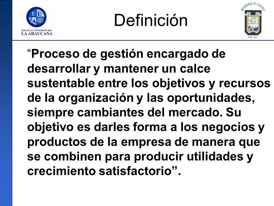 Definición Proceso de gestión encargado de desarrollar y mantener un calce sustentable entre los objetivos y recursos de la organización y las oportun