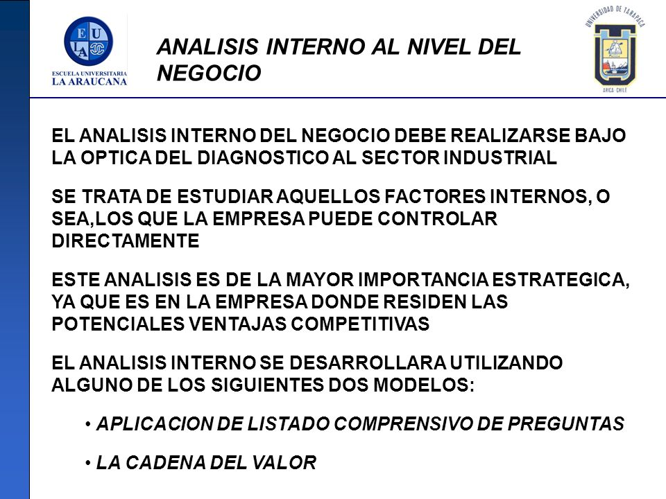 ANALISIS INTERNO AL NIVEL DEL NEGOCIO EL ANALISIS INTERNO DEL NEGOCIO DEBE REALIZARSE BAJO LA OPTICA DEL DIAGNOSTICO AL SECTOR INDUSTRIAL SE TRATA DE