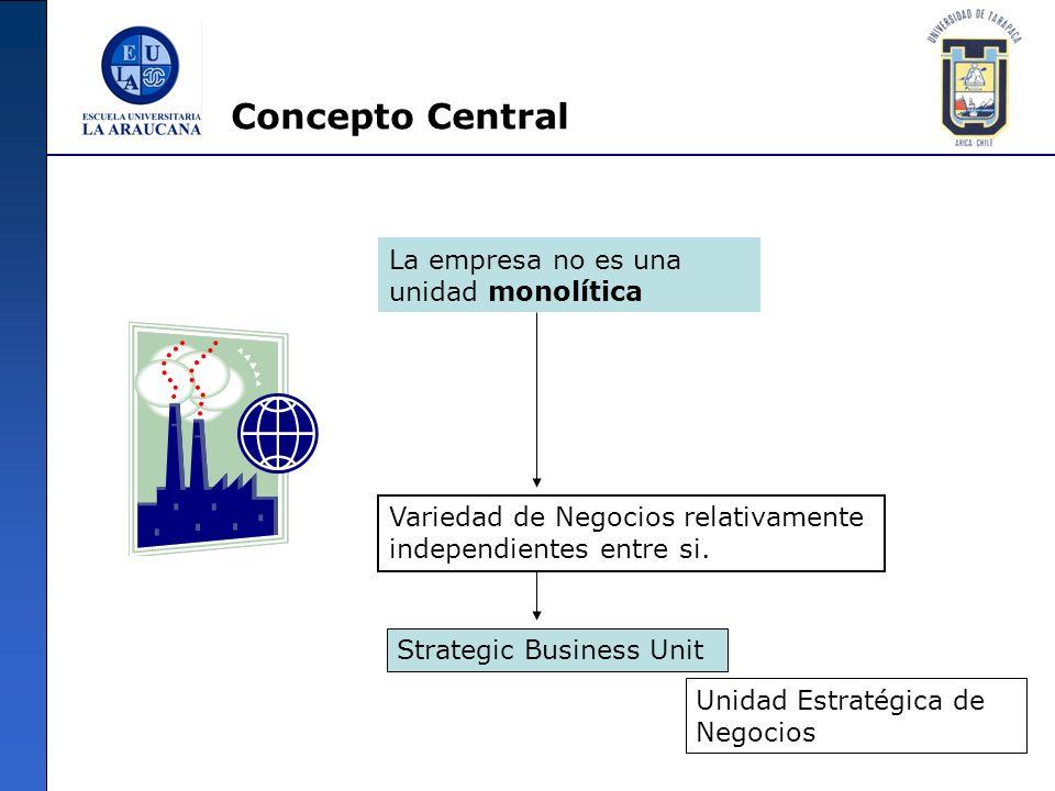 Concepto Central La empresa no es una unidad monolítica Variedad de Negocios relativamente independientes entre si. Strategic Business Unit Unidad Est