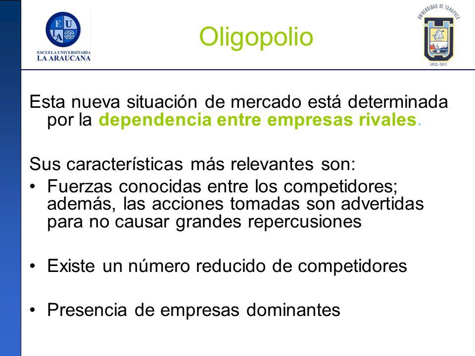 Oligopolio Esta nueva situación de mercado está determinada por la dependencia entre empresas rivales. Sus características más relevantes son: Fuerzas