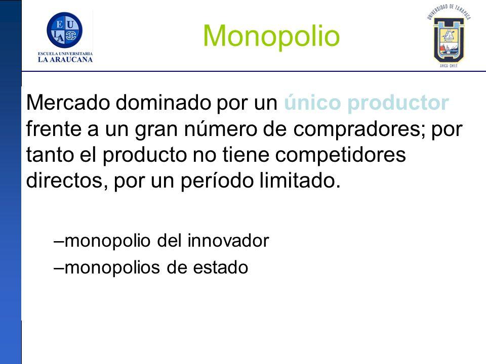 Monopolio Mercado dominado por un único productor frente a un gran número de compradores; por tanto el producto no tiene competidores directos, por un