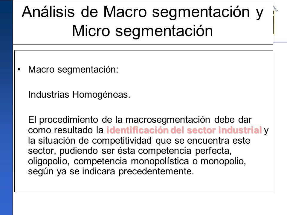 Análisis de Macro segmentación y Micro segmentación Macro segmentación: Industrias Homogéneas. identificación del sector industrial El procedimiento d