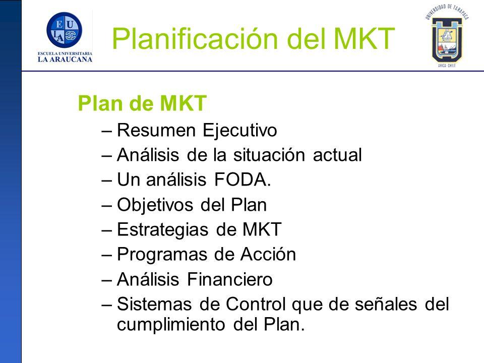 Planificación del MKT Plan de MKT –Resumen Ejecutivo –Análisis de la situación actual –Un análisis FODA. –Objetivos del Plan –Estrategias de MKT –Prog