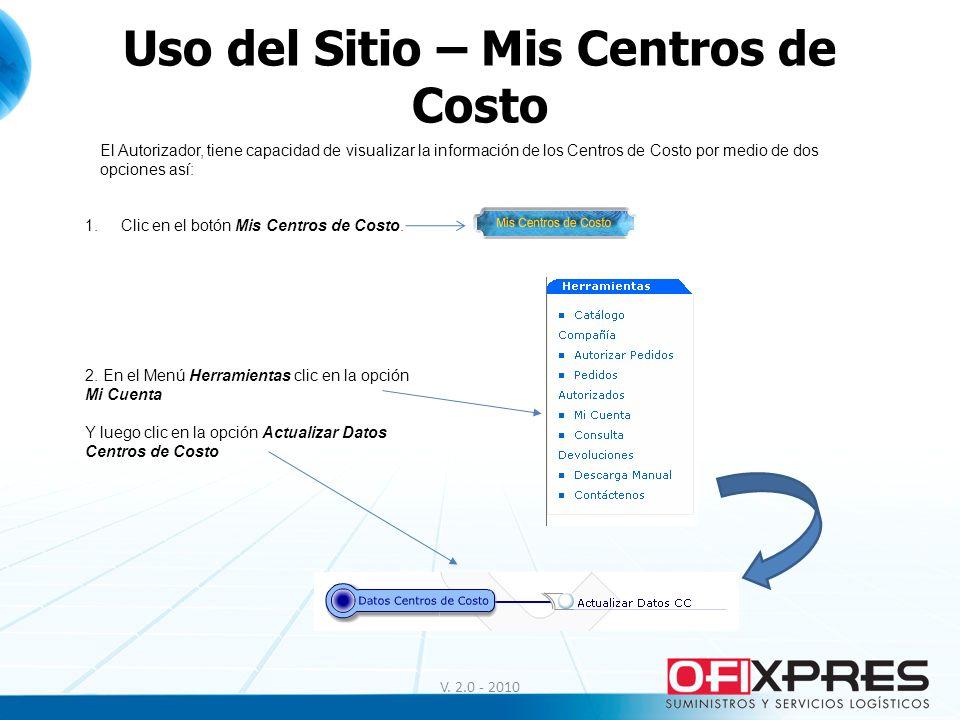 Uso del Sitio – Mis Centros de Costo El Autorizador, tiene capacidad de visualizar la información de los Centros de Costo por medio de dos opciones as