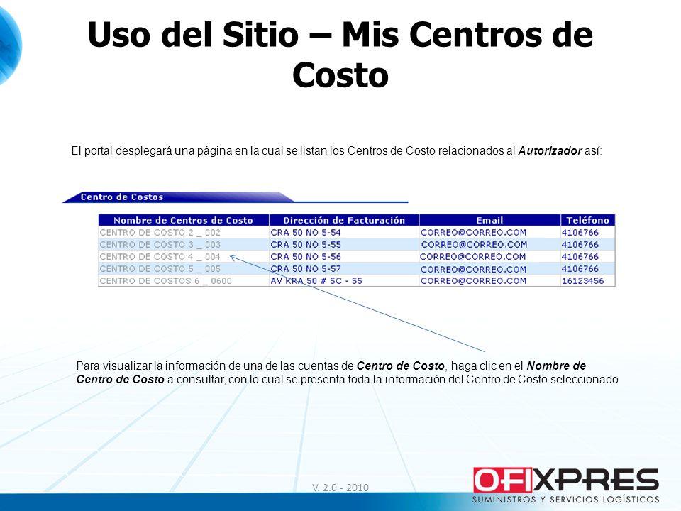Uso del Sitio – Mis Centros de Costo El portal desplegará una página en la cual se listan los Centros de Costo relacionados al Autorizador así: Para v