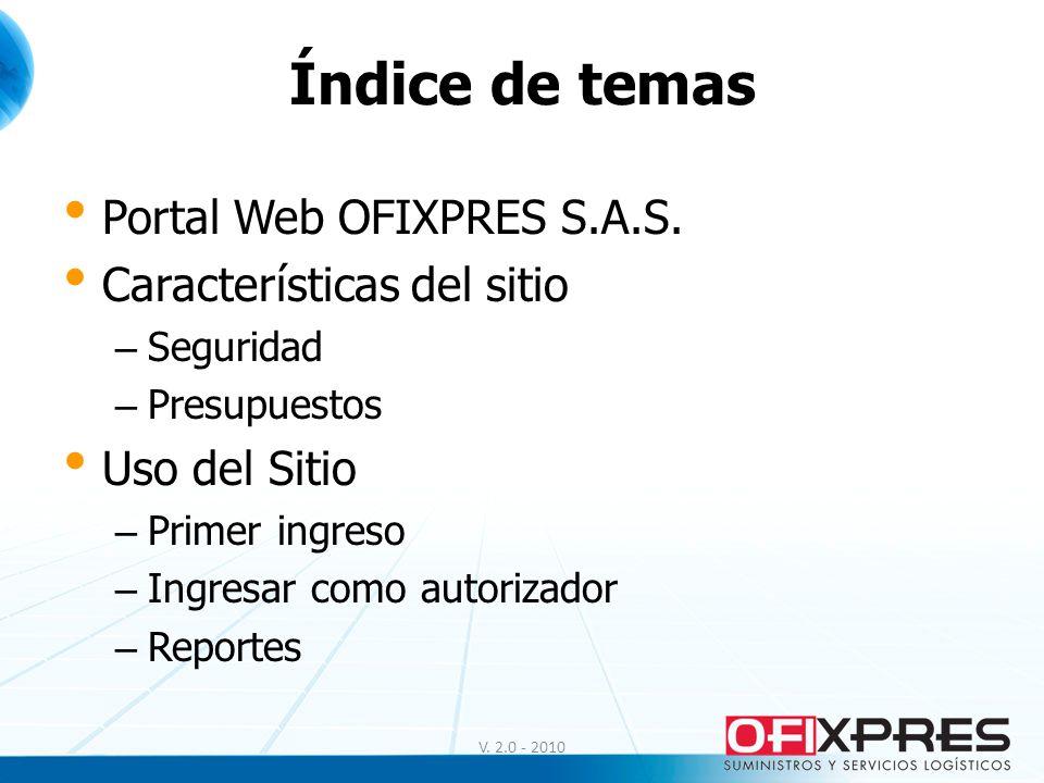 Índice de temas Portal Web OFIXPRES S.A.S. Características del sitio – Seguridad – Presupuestos Uso del Sitio – Primer ingreso – Ingresar como autoriz