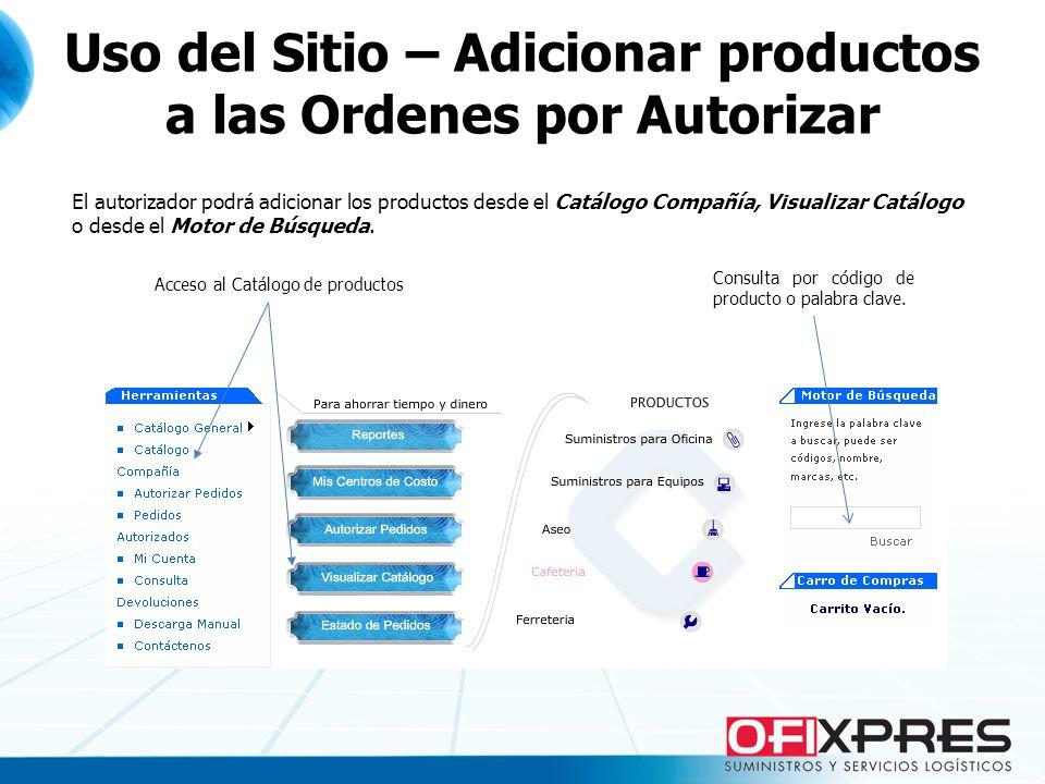 El autorizador podrá adicionar los productos desde el Catálogo Compañía, Visualizar Catálogo o desde el Motor de Búsqueda. Consulta por código de prod