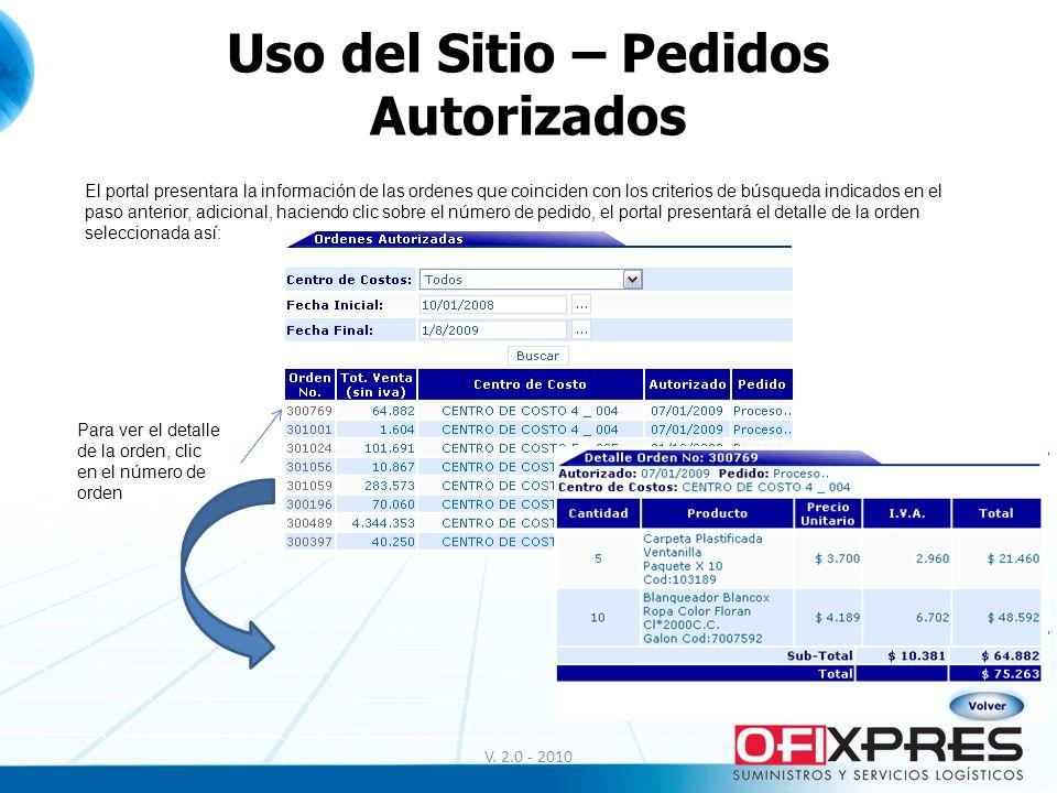 V. 2.0 - 2010 Uso del Sitio – Pedidos Autorizados El portal presentara la información de las ordenes que coinciden con los criterios de búsqueda indic