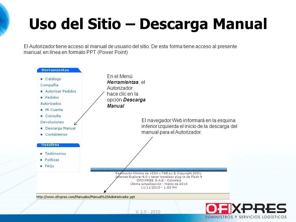 Uso del Sitio – Descarga Manual V. 2.0 - 2010 El Autorizador tiene acceso al manual de usuario del sitio. De esta forma tiene acceso al presente manua
