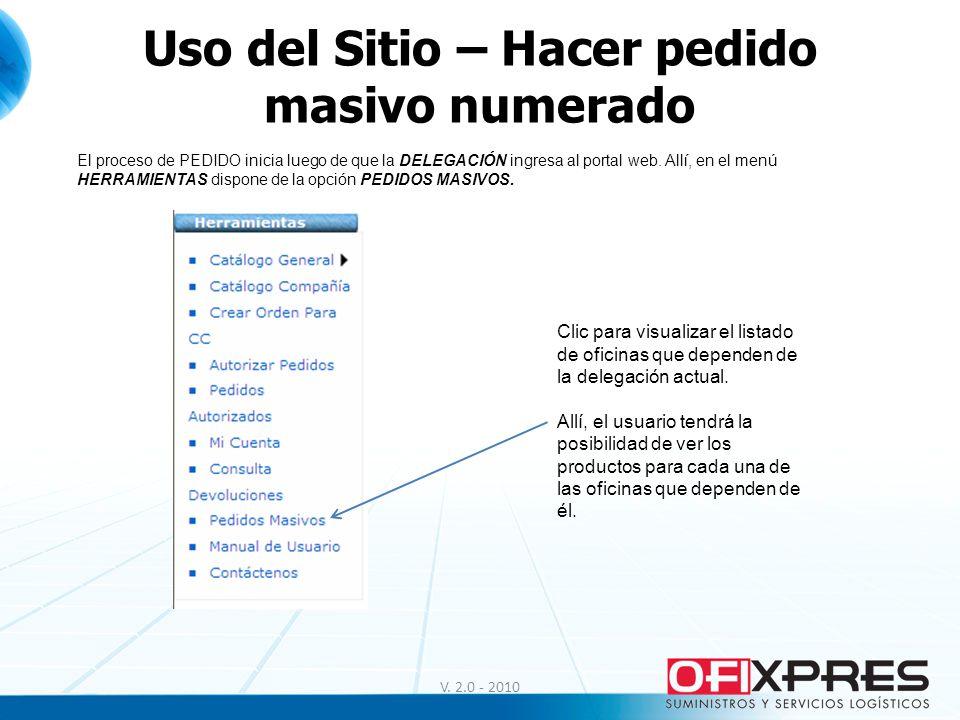 Uso del Sitio – Hacer pedido masivo numerado V. 2.0 - 2010 El proceso de PEDIDO inicia luego de que la DELEGACIÓN ingresa al portal web. Allí, en el m