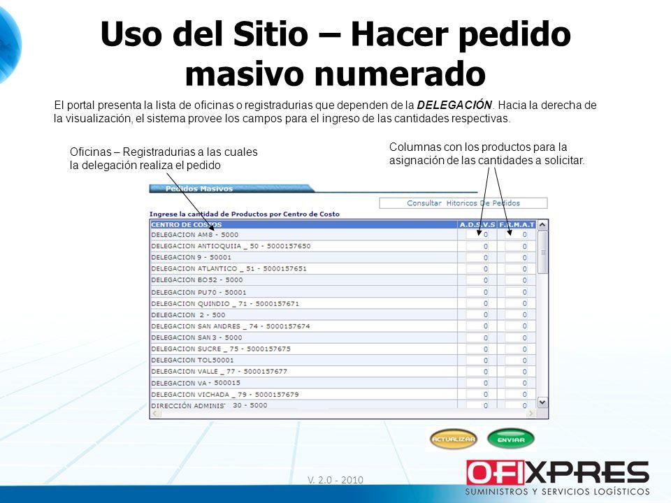 Uso del Sitio – Hacer pedido masivo numerado V. 2.0 - 2010 El portal presenta la lista de oficinas o registradurias que dependen de la DELEGACIÓN. Hac