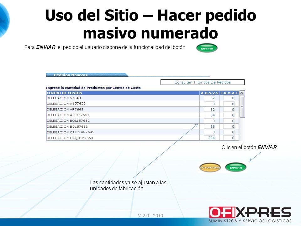 Uso del Sitio – Hacer pedido masivo numerado V. 2.0 - 2010 Para ENVIAR el pedido el usuario dispone de la funcionalidad del botón Las cantidades ya se