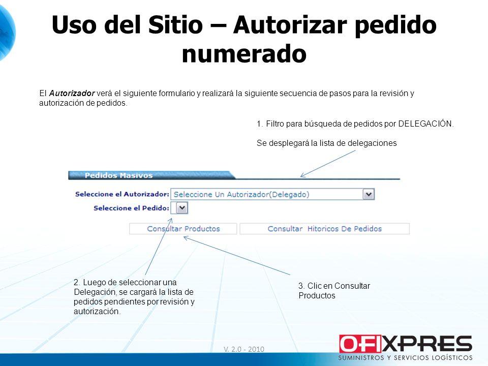 Uso del Sitio – Autorizar pedido numerado V. 2.0 - 2010 El Autorizador verá el siguiente formulario y realizará la siguiente secuencia de pasos para l