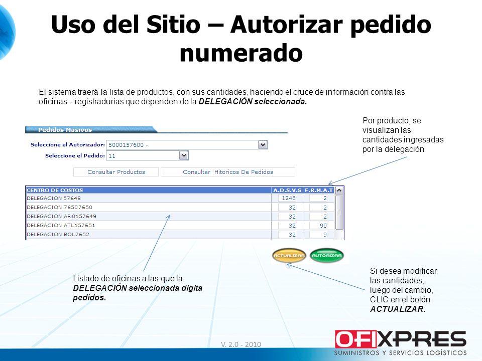 Uso del Sitio – Autorizar pedido numerado V. 2.0 - 2010 El sistema traerá la lista de productos, con sus cantidades, haciendo el cruce de información