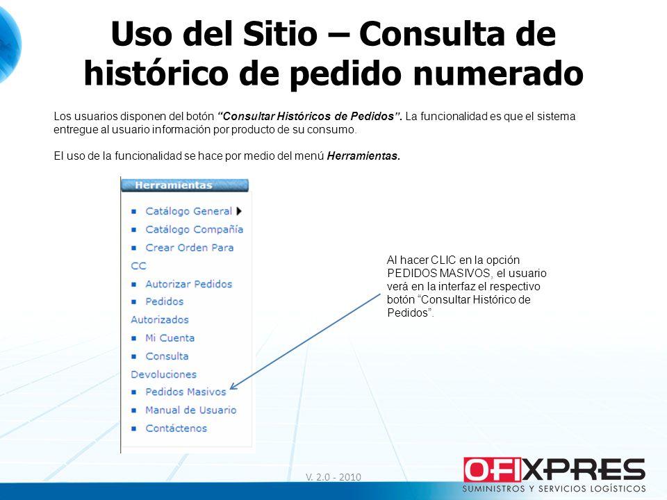 Uso del Sitio – Consulta de histórico de pedido numerado V. 2.0 - 2010 Los usuarios disponen del botón Consultar Históricos de Pedidos. La funcionalid