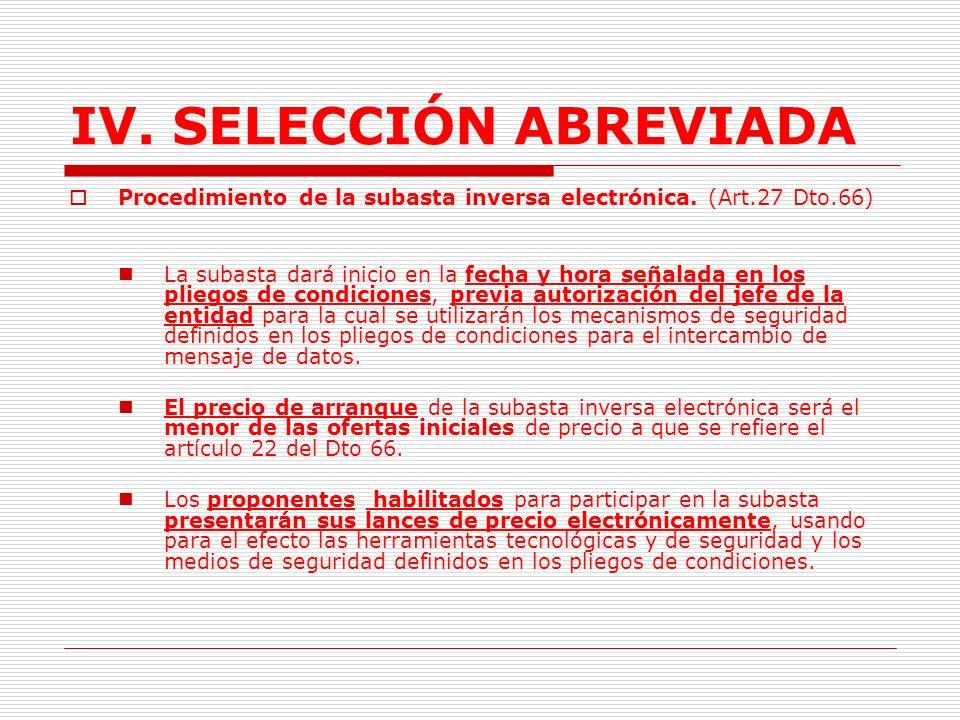 IV.SELECCIÓN ABREVIADA Registro de lances.