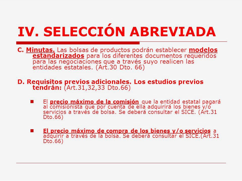 IV.SELECCIÓN ABREVIADA B. Listados de productos.