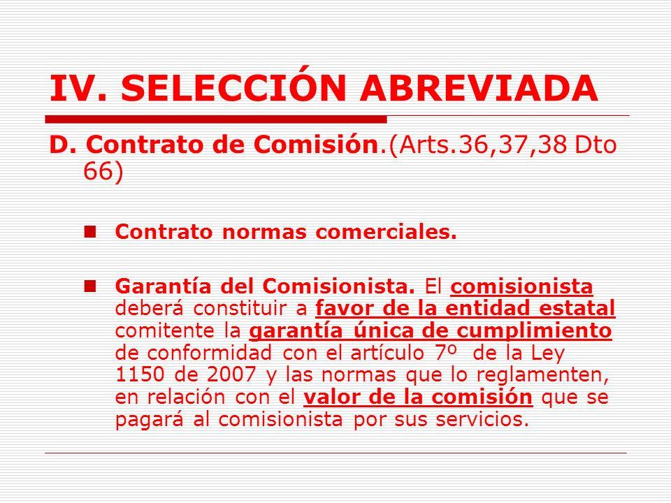 IV.SELECCIÓN ABREVIADA Procedimiento. (Art.35 Dto.66) Solicitud de la entidad a la Bolsa.