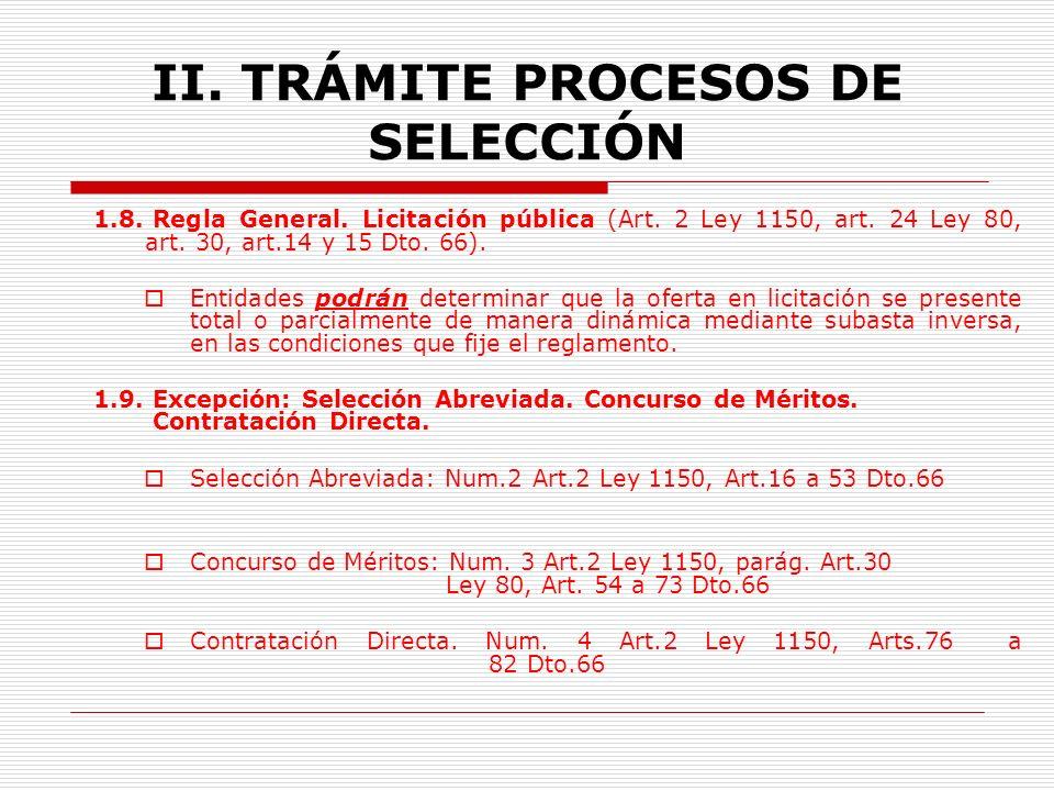 II.TRÁMITE PROCESOS DE SELECCIÓN 1.7. Oferta artificialmente baja.