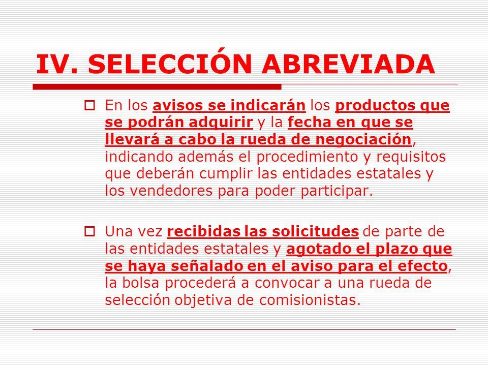 IV.SELECCIÓN ABREVIADA F. Tramites iniciados por las Bolsas.