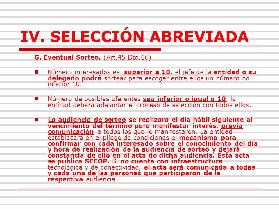 IV.SELECCIÓN ABREVIADA E. Publicación pliego definitivo.