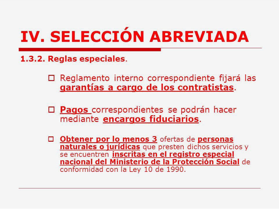 IV.SELECCIÓN ABREVIADA 1.3. CONTRATOS PARA LA PRESTACIÓN DE SERVICIOS DE SALUD.(Lit.