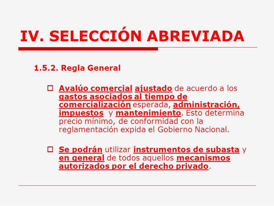 IV.SELECCIÓN ABREVIADA 1.5. ENAJENACIÓN DE BIENES DEL ESTADO.