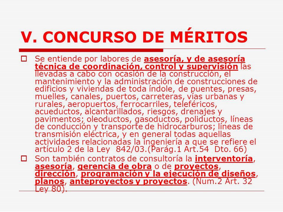 V.CONCURSO DE MÉRITOS 1. Aspectos Generales. 1.1.