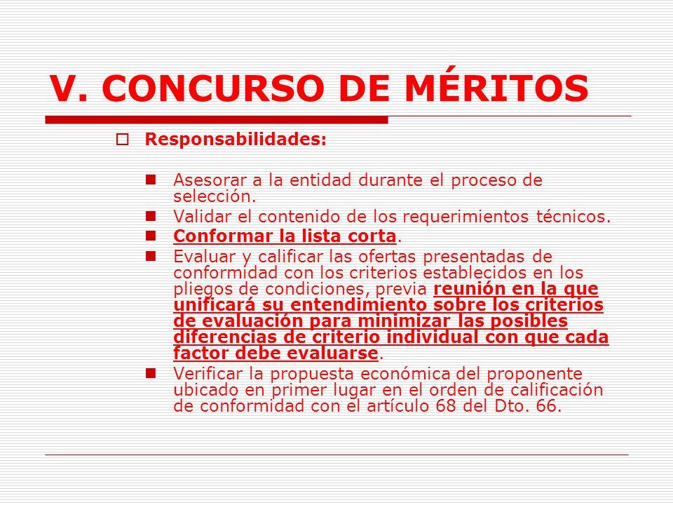 V.CONCURSO DE MÉRITOS 2.1. Concurso con Precalificación.