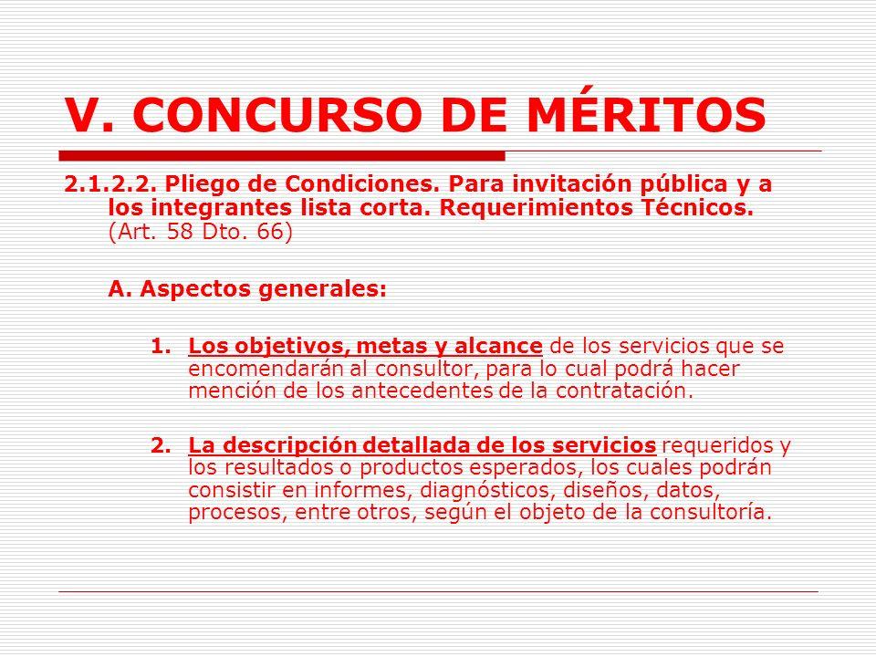 V.CONCURSO DE MÉRITOS Reserva del Detalle del Presupuesto.