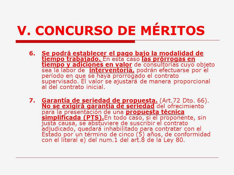 V. CONCURSO DE MÉRITOS 3.El cronograma de la ejecución de los servicios de consultoría y de sus resultados. 4.El listado de la información necesaria y