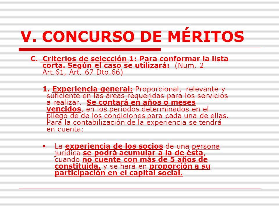 V.CONCURSO DE MÉRITOS Gastos de administración. Utilidades del consultor.