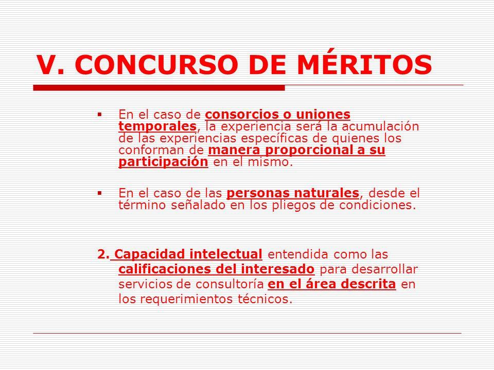 V.CONCURSO DE MÉRITOS C. Criterios de selección 1: Para conformar la lista corta.