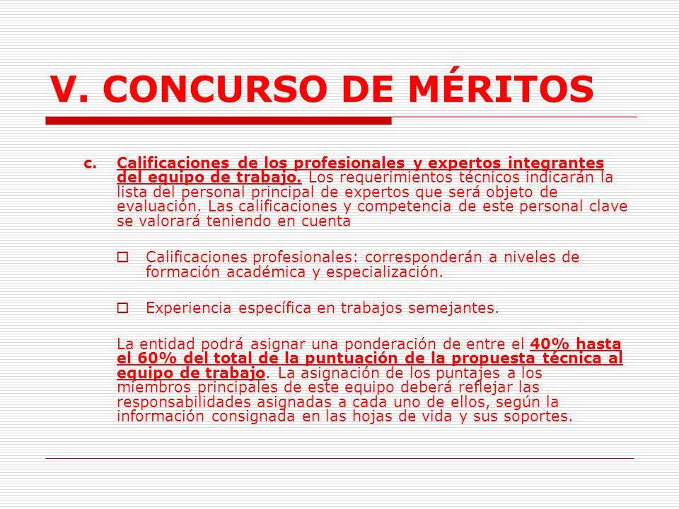 V. CONCURSO DE MÉRITOS 2)Plan de trabajo: Calificará una detallada, correcta y pertinente organización de actividades en relación al tiempo necesario