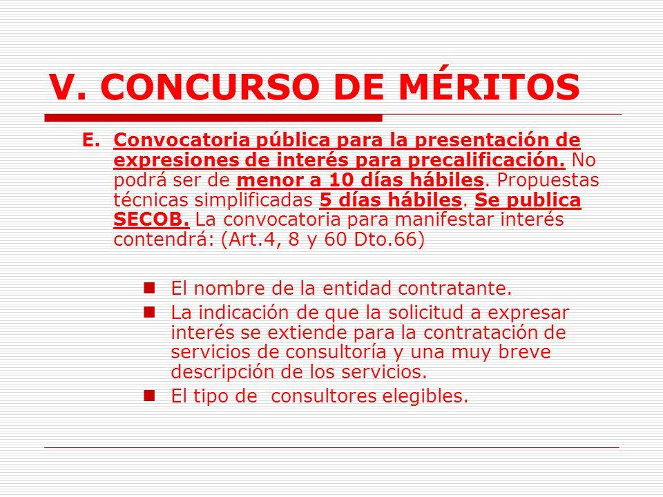 V.CONCURSO DE MÉRITOS 2.1.2.3. Trámite (Art.56 Dto.66) A.Requisitos previos.