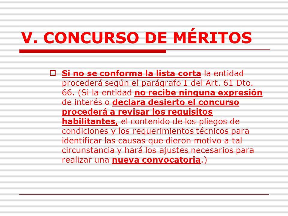 V.CONCURSO DE MÉRITOS H. Conformación Lista Corta.
